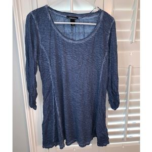 Blue top with ruched sleeves